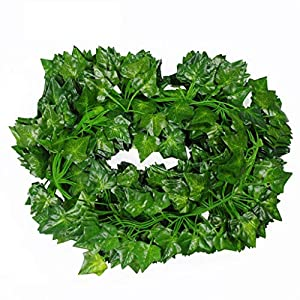 WZKERHSS 12 Strands Green Artificial Ivy Leaf Wreath, Fake Bougainvillea Plant Vine Artificial Vine Leaf Flower Wedding Garden Home Kitchen Office Hanging Wall Decoration (A)