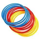 MAYOKIAAR Agility Hoops - Anillos de plástico para entrenamiento de velocidad (12 unidades, 40,64 cm), multicolor para niños, adolescentes, equipo de entrenamiento de resistencia y musculatura