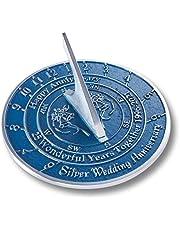 The Metal Foundry Reloj de sol de plata 25 aniversario de boda 2021. Idea de regalo de metal reciclado sólido es un gran regalo para él, ella, padres, abuelos o pareja en 25 años de matrimonio