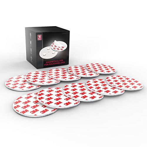 Magnethalter für Rauchmelder (10 Stück) - ohne Bohren - Universelle Magnethalter für Rauchmelder mit extra starken 3M Klebepads und Neodym Magneten