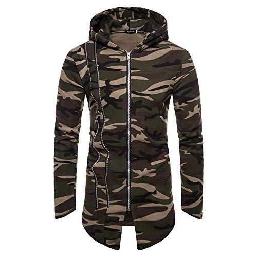 Qmber Herren jacken Kapuzenjacke Sweatjacke Parka Pullover Sweatshirt Hoodies Outdoor Coat Strickjacke Täglichen Mäntel Outwear Herbst Winter Tops, Tarnung Cardigan Langarm(AG,Large)