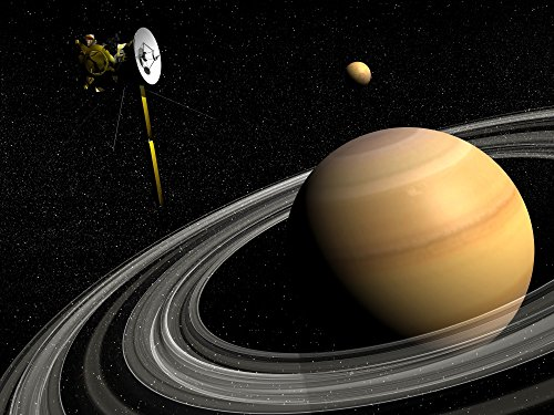 Posterazzi Cassini spacecraft orbiting Saturn and and its moon Titan Poster...