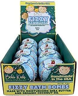 Bela Bath & Beauty, Bela Kids Fizzy Bath Bombs, Blue Bubble Gum, With Moisturizing Shea Butter and Coconut Oil, 4.5 oz Each - Set of 8