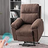 EROMMY Power Lift Recliner Chair for Elderly, Fabric Home Massage Sofa Chairs with Massage and Heat, Wireless Remote Control, Side Pocket, Linen Brown