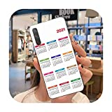 Coque tendance calendrier 2021 pour Huawei Honor 30 20 10 9 8 8x 8c v30 Lite View pro-a1-honor30