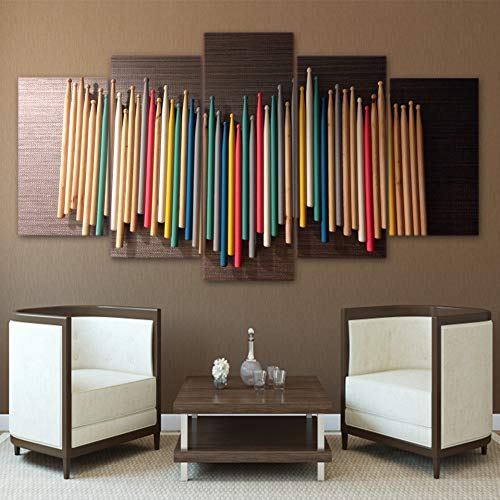 MMLZLZ 5 Canvas Wall Art Modern Modern Poster Hd Printed Wall Art Home Decor for Living Room Pictures 5 Pieces Colorful Music Drum Sticks Canvas Painting