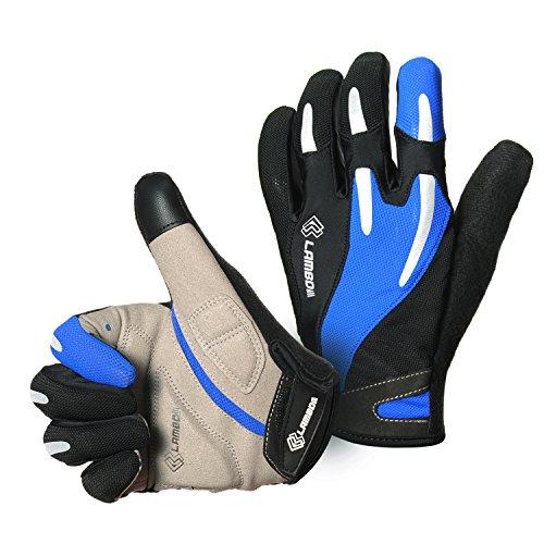 4Ucycling Vollfinger Fahrrad Handschuhe Touchscreen Radhandschuhe Gepolsterte Fitness Handschuhe für Rennrad MTB Radposrt Blau XL