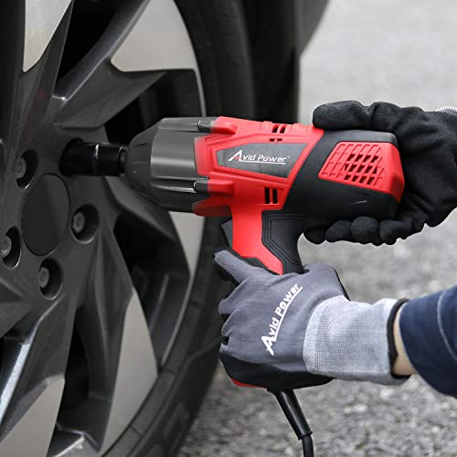 AVID POWER Electric Impact Wrench Kit with 1/2 Inch Chuck, 500 N.m (370 Ft-lbs) Max Torque with 2 Sockets(13/16'' 3/4'') and Carry Case,AEIW126