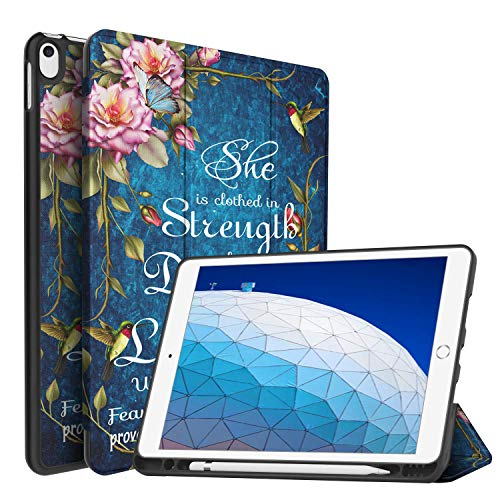 iPad Air (3rd Gen) 10.5' 2019/iPad Pro 10.5' 2017 Case,BOSLIVE Bible Verse Proverbs 31:25 Flower Background Design Slim Stand Folio Case with Pencil Holder, Auto Sleep/Wake Back Smart Soft TPU Case