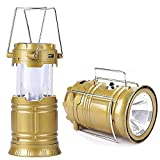 XHAIDEN Portable 2 in 1 Solar Rechargeable Collapsible LED Camping Lantern Flashlight Lamp with USB Port (Small; Colour May Vary)