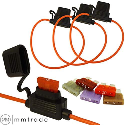 mmtrade   3x Sicherungshalter mit Schutzabdeckung + 5x ATC-Sicherungen (2A, 3A, 5A, 7.5A, 10A)   AWG18-24cm - max. 10A 32VDC   Auto KFZ Inline Blade Fuse Holder