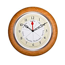 DayClocks Combination Analog Wall Clock – Time of Day and Day of the Week Wall Clock – Unique Kitchen Wall Clock -- Maple Accent Frame