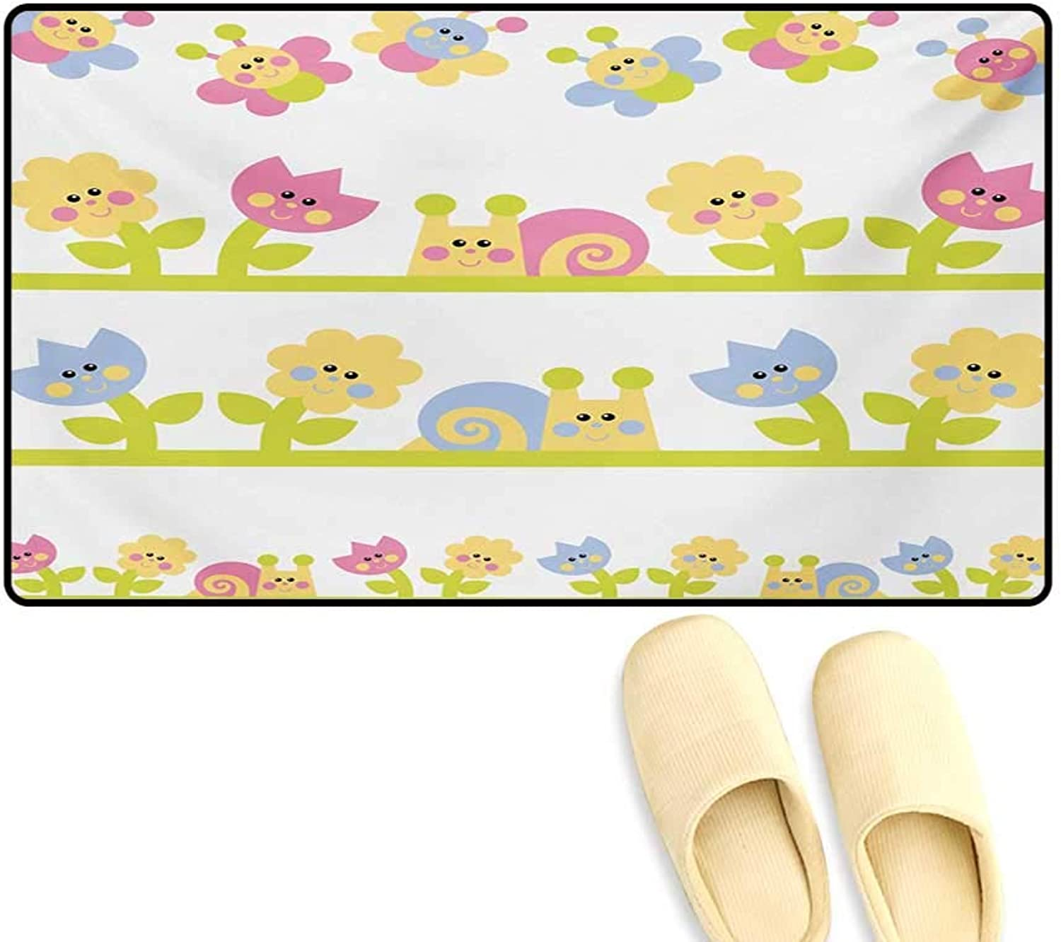 Door-mat,Cartoon Character Bees Tulip and Daisy Flowers Snails Garden Pattern,Bathroom Mat for Tub Non Slip,Baby bluee Pale Green Yellow,24 x36