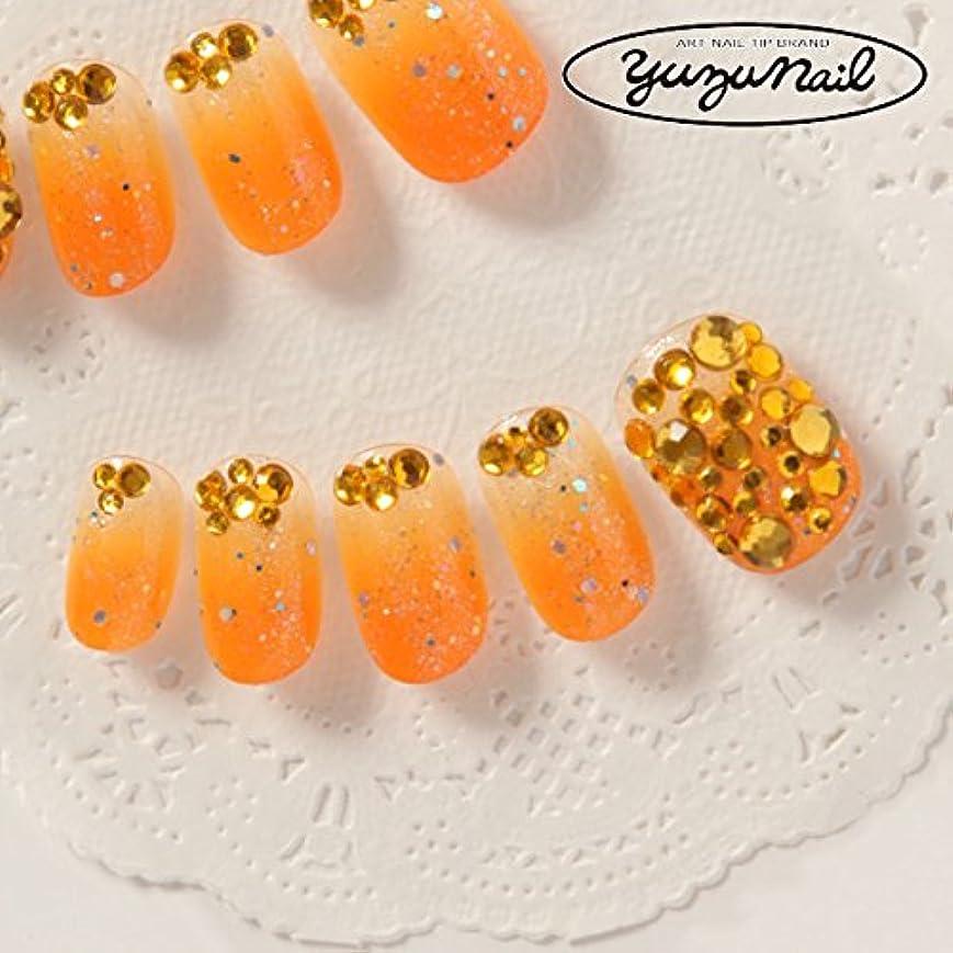 初期ペチコート目に見えるゆずネイル ネイルチップ オレンジ系 ゴージャス ドレス(C02002-6-R-CORY)