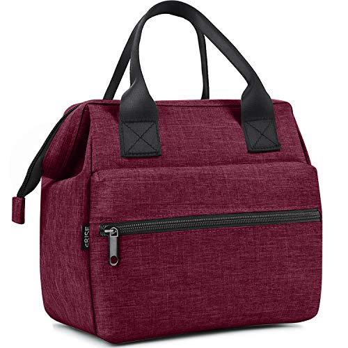 SRISE Lunch Bag for Women   Insulated Lunch Box Tote for Girls, Ladies, Teens   Cute Lunch Carrier Purse Durable Snacks Organizer for School, Work, Office   Fits 12 Cans (Red)