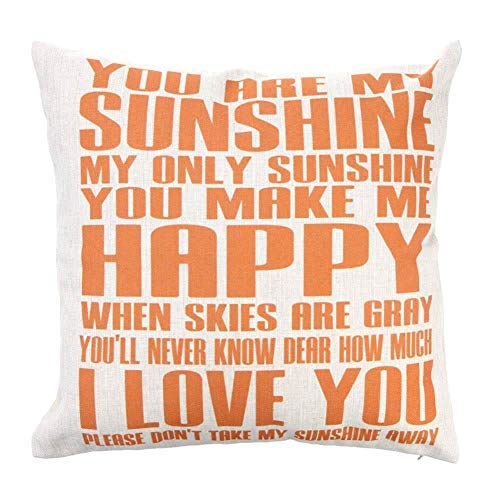 Lebeaut You Are My Sunshine Cotton and Linen Pillowcase Back Cushion Cover Throw Pillow Case for Bed Sofa Car Home Decorative Decor 45 * 45cm Create Stylish Comfort
