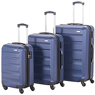 Pianeta Expandable Spinner Luggage Sets Lightweight HardShell Suitcase Set 3pcs 20inch Carry On 24 inch 28inch (NAVY)