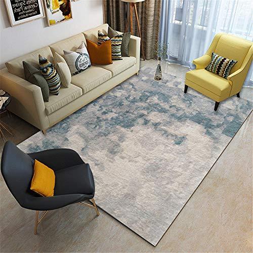 Kunsen alfombras Antideslizantes cojin Grande Suelo Alfombra Rectangular de Sala de Estar Azul Gris Azul no se desvanece alfombras Lavables 80x160cm 2ft 7.5' X5ft 3'