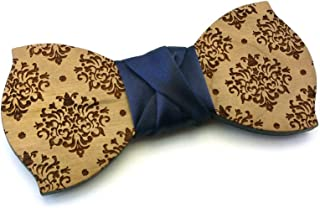 Papillon legno GIGETTO Damascato Nodo Raso Blu Made in Italy