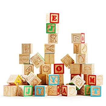 SainSmart Jr Wooden ABC Alphabet Blocks Set 40PCS Classic Wood Toy for Stacking Building Educational Learning with Mesh Bag for Preschool Letters Number Counting for Ages 3 4 5 6 Toddlers,1.2