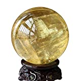 Adivinación con Bola de Cristal Topaz Natural Crystal Ball Adornos Feng Shui Ball Sala de Estar Oficina Tienda Amarillo Cristal Transparente Bola de Cristal (Color : 5cm)