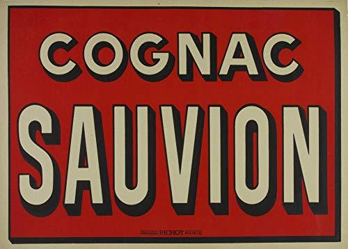 Vintage bieren, wijnen en sterke drank 'Cognac Sauvion', Frankrijk, 1920, 250gsm Zacht-Satijn Laagglans Reproductie A3 Poster