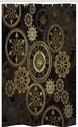 ABAKUHAUS Steampunk Schmaler Duschvorhang, Dunkle Schattenräder, Badezimmer Deko Set aus Stoff mit Haken, 120 x 180 cm, Dunkelbraun Sandbraun