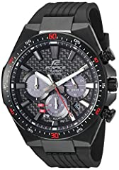 100 M Water Resistant; Solar Powered; 1 Sec Stopwatch; Date Display; Battery Indicator; Screw Back Carbon Fiber Dial; Resin Band; Black Ion Plated Bezel; Buckle Closure Quartz Movement Case Diameter: 47.5mm Water resistant to 100m (330ft): in general...