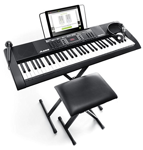 Alesis Melody 61 MKII | 61 Key Portable Keyboard with Built In Speakers, Headphones, Microphone, Piano Stand, Music Rest and Stool Maine