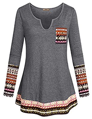 Miusey Womens Casual Long Sleeve Curved Hem Loose fit Henley V Neck Tunic Shirt