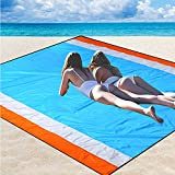 HiSung Sand Free Beach Blanket Extra Large Beach Mat Sandproof Beach Blanket Waterproof 82' X79' Outdoor Picnic Blanket for Travel, Camping, Hiking -Bach Mat Sand Free Quick Drying Heat Resistant
