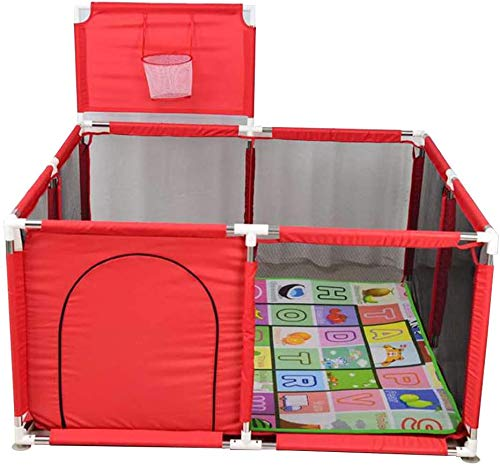 Jouets Baby Play Fence for Children, KidSafety Play Center YarSafety Portable with Mat and Basketball Hoot, Household Indoor and Outdoor Games, Easy Assembled