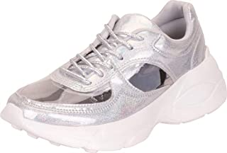 Cambridge Select Women's Retro 90s Ugly Dad See-Through Cutout Chunky Platform Fashion Sneaker