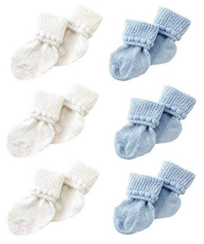 Blue & White Newborn Baby Socks by Nurses Choice - Includes 6 Pairs of Cotton Socks