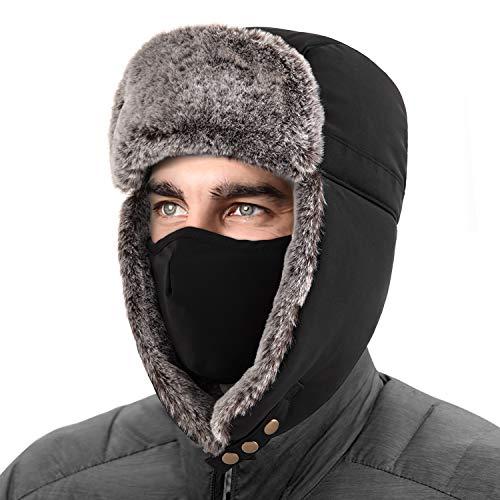 Unigear Wintermütze mit Ohrenklappen, Unisex Warme Schneedichte Fliegermütze Kunstfellmütze mit Winddichte Abnehmbarer Gesichtsmaske für Skifahren, Schlittschuhlaufen und andere Outdoor-Aktivitäten