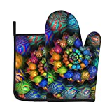 Funny Oven Mitt and Pot Holders Set Colorful Mandala Soft Flexible Oven Gloves Heat Resistant Kitchen Cooking Mitts Grilling Gadgets to Protect Hands Surfaces for Men Women