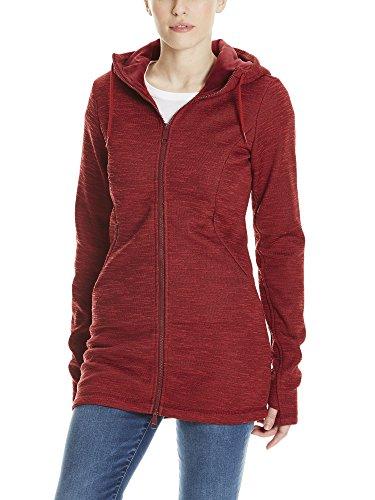 Bench Damen Bonded Long Velvet Jacket Mantel, Rot (Cabernet Rd11343), Medium