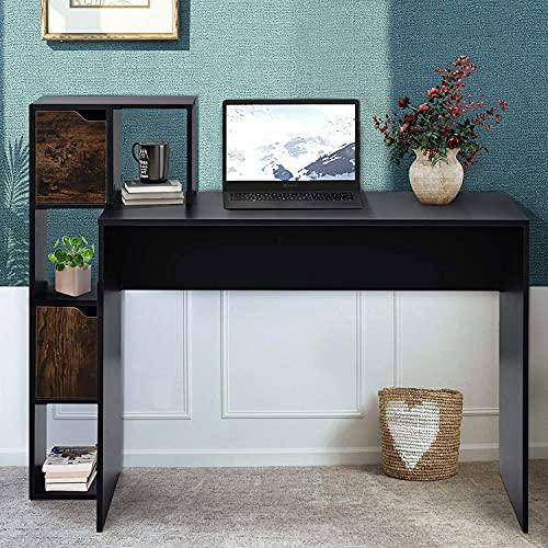 Escritorio, mesa de trabajo, mesa de oficina, mesa de juegos, mesa con espacio de almacenamiento, estantes abiertos y cerrados para almacenamiento, color negro
