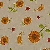 Dekostoff Sonnenblumen, Leinenoptik, beige/gelb (25cm x