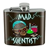 Mad Scientist with Beakers Brain Stainless Steel 5oz Hip Drink Kidney Flask