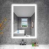 BBE 900 x 700 mm LED espejo de baño con luz regulable antivaho montaje en pared (horizontal/vertical) (36 x 28 pulgadas)