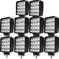 【HIKARI独占販売】偽物にご注意 48W LED作業灯 LEDワークライト led投光器 防水 6000lm PMMAレンズ 投光 広角 拡散 12/24V フォークリフト トラック ホワイト 10個「A-TD02x10」