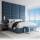 VANT Paneles de Pared con Tapizados - Paquetes de 4 - Fácil Instalar - Cabecera Gemelo - Tamaño Gigante(Peluche Terciopelo Azul Pavo Real, 76cm Ancho)