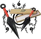 Naruto Kunai Ninja Cosplay Accessories, 1 Pcs Big Plastic Kunai Naruto Toy Cosplay Accessories for Japanese Naruto Fans (Red) 26CM