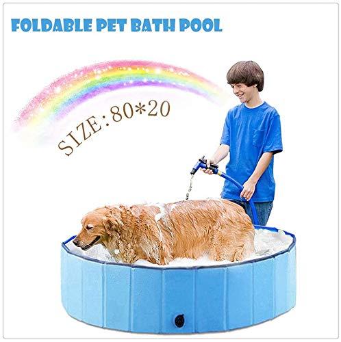 New-wish Hundepool Schwimmbad für Hunde, Hundeplanschbecken Hundebad, Klappbares Haustier-Duschbecken mit Umweltfreundlichem PVC rutschfest (80 * 20cm)