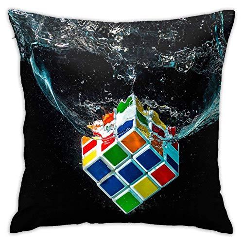 Water Digital Art Rubiks Cube BlackPillow Covers Water Digital Art Rubiks Cube Negro con cremallera oculta Funda de almohada para sofá, sofá, cama, patio Funda de almohada Estándar 18 x 18 pulgadas Cu