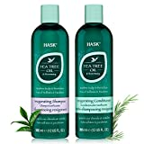 HASK TEA TREE OIL & ROSEMARY Shampoo and Conditioner Set Soothing and Restoring Scalp Care - Color safe, gluten-free, sulfate-free, paraben-free - 1 Shampoo and 1 Conditioner