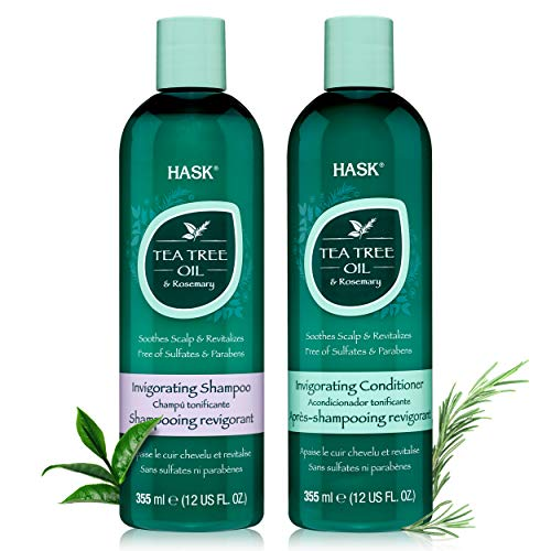 HASK TEA TREE OIL & ROSEMARY Invigorating Shampoo + ConditionerSet for All Hair Types, Color Safe, Gluten-Free, Sulfate-Free, Paraben-Free, Cruelty-Free - 1 Shampoo and 1 Conditioner