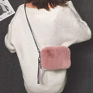 Fashion Single-Shoulder Bags Leisure Fashion Plush Shoulder Bag Messenger Bag Handbag (Black) (Color : Pink)