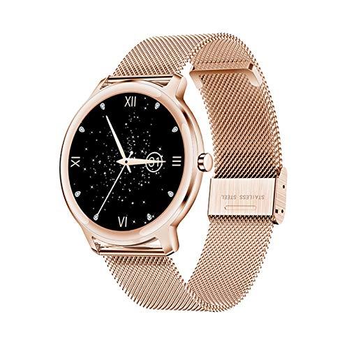 LYB Super Slim Smart Watch Women Pantalla Táctil Completa Monitor De Ritmo Cardíaco Presión Arterial Smartwatch para Android iOS (Color : Mesh Rosegold)